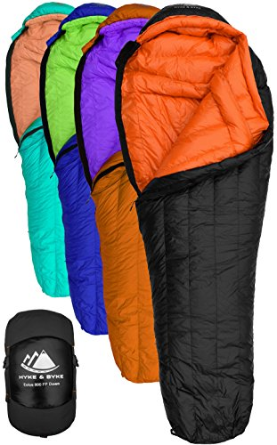 Hyke & Byke Eolus 15 & 30 Degree F 800 Fill Power Hydrophobic Goose Down Sleeping Bag with LofTech Base - Ultra Lightweight 3 Season Men's and Women's Mummy Bag Designed for Backpacking ()