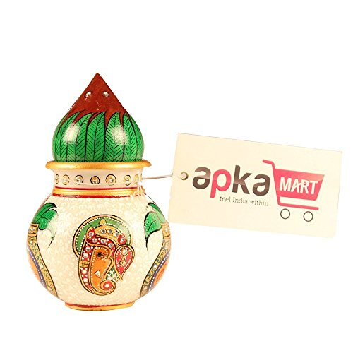 APKAMART Handcrafted Marble Kalash - 5 Inch Marble Pot - Holy Water Pot And Coconut - Lord Ganesh Design - Puja Article For Festivals, Home Decor, Temple Decor And Gifts