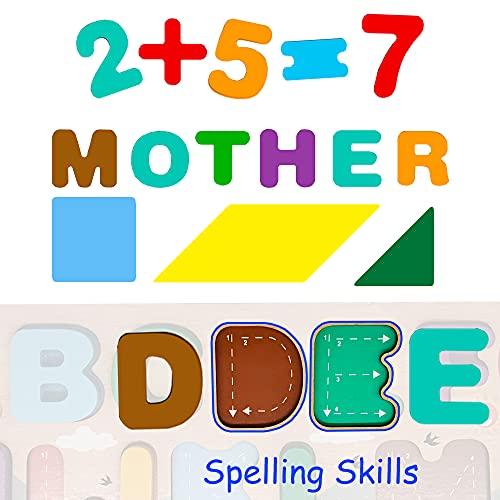 Puzzle Alphabet Bois Enfant Jouet en Bois 3 4 5 Ans Jouet Montessori Éducatif avec Tangram Géométrique Lettres ABC Nombres Jeux Préscolaire Apprentissage Cadeau Anniversaire Noël pour Garçon Fille