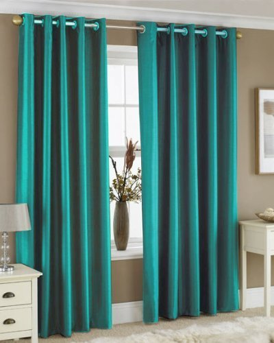 TEAL FAUX SILK LINED CURTAINS WITH EYELET RING TOP 66 X 72