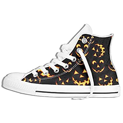Scary Smile Halloween Custom Lace-up High Top Sneakers Unisex Cavas Shoes