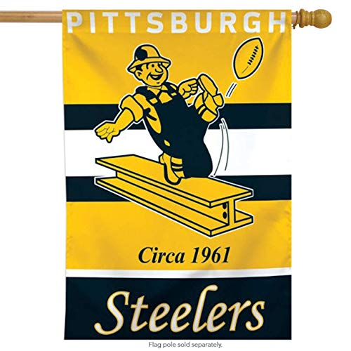 (XGUPKL Pittsburgh Steelers Retro Vertical NFL Flag Licensed Football for Party Outdoor Home Decor Size: 28-inches W X 40-inches H)