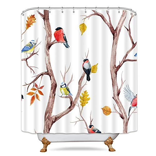 Watercolor Birds Shower Curtain