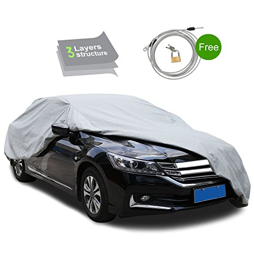 3 Layer Waterproof Car Cover - Lightweight Breathable Dustproof Environmental Degradable Material – Scratch Resistant - Snow, Rain, Ice, Hail, Sun UV Prevention, with Security Lock