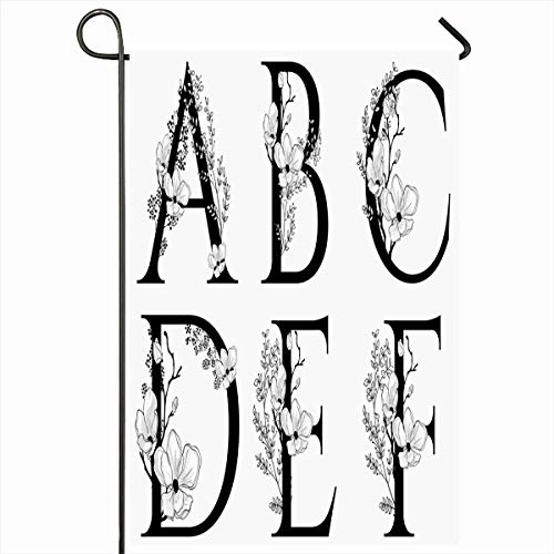 Ahawoso Outdoor Garden Flag 12x18 Inches Border Drawn Flower Floral Uppercase Letters Monogram Alphabet Branch Couture Cherry Vintage Natural Design Character Seasonal Double Sides House Yard Sign
