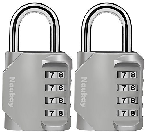 Combination Lock, [2 Pack] 4 Digit Padlock for Gym, Sports, School & (Combination Sports Lock)