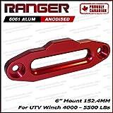 Ranger UTV Side by Side Aluminum Hawse Fairlead For 4000-5500 LBs UTV Winch 6'' (152.4MM) Mount by Ultranger Glossy (Red)