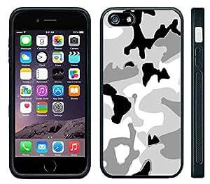 Apple iPhone 6 Black Rubber Silicone Case - Arctic Digi Camo camoufladge snow