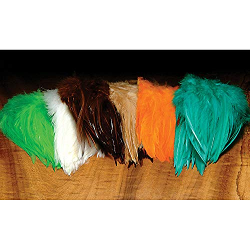 "Hareline 5-7"" Dyed-Over-White Strung Saddle Hackle for sale  Delivered anywhere in USA"