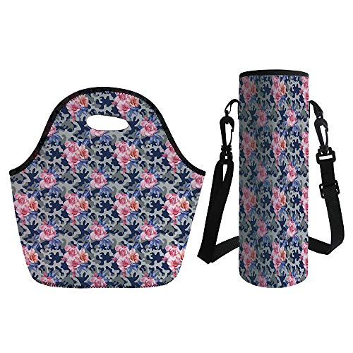(3D Print Neoprene lunch Bag with Kit Neoprene Bottle Cover,Camo,Victorian Theme Pink Retro Design Roses Urban Fashion Nature Feminine,Pink Violet Blue Sage Green,for Adults)