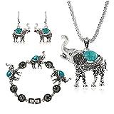 Miraculous Garden Womens Vintage Silver Ethnic Tribal Elephant Boho Pendant Necklace Drop Earrings Link Bracelet Jewelry Sets (Turquoise)