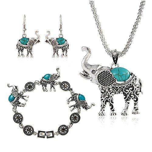 Link Pendant Bracelet - Miraculous Garden Womens Vintage Silver Ethnic Tribal Elephant Boho Pendant Necklace Drop Earrings Link Bracelet Jewelry Sets (Turquoise)