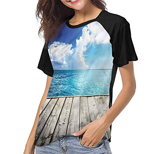 Women's Baseball Short Sleeves,Landscape,Caribbean Sea Wood Deck S-XXL(This is for Size Medium),Casual Blouses Baseball Tshirts Top