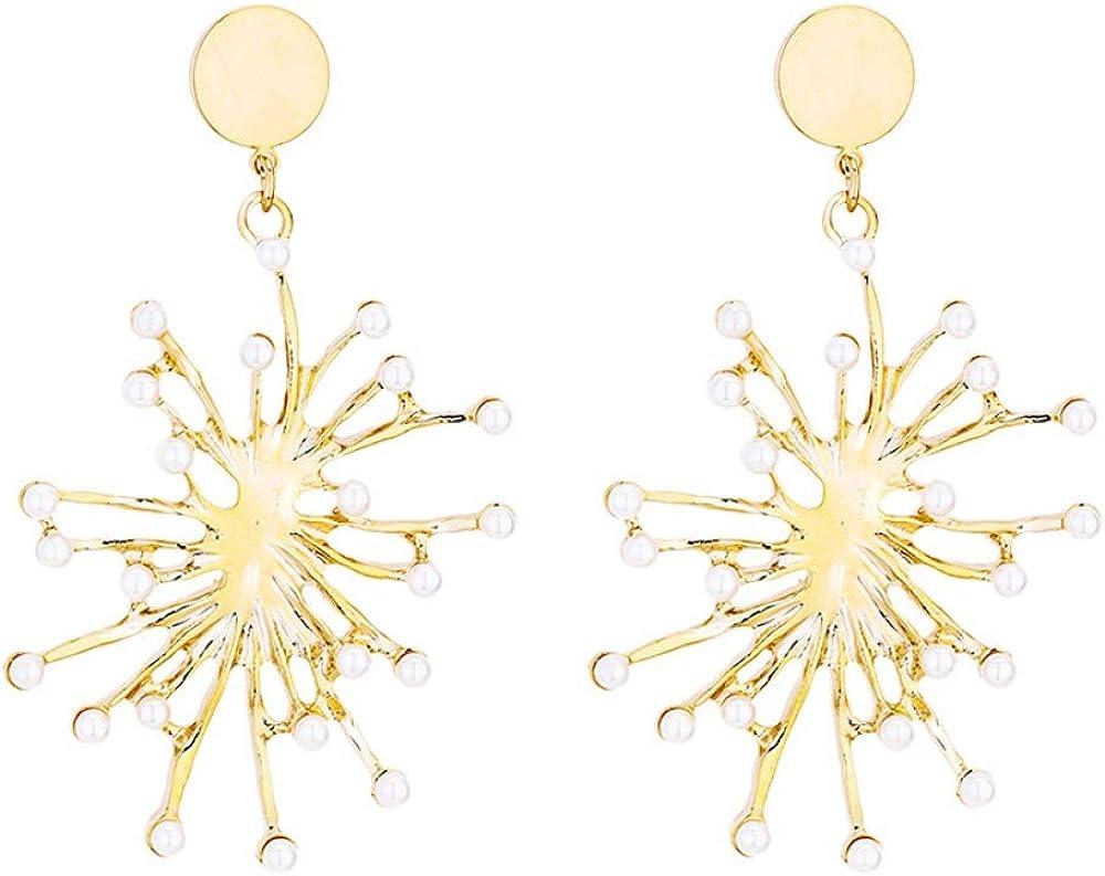 Pendientes hipoalergénicos largos con diseño de perla de coral exagerada