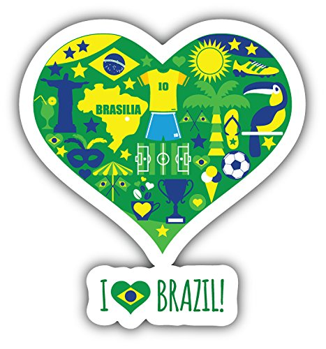 I Love Brazil Heart Label Art Decor Bumper Sticker 5'' x 5'' ()