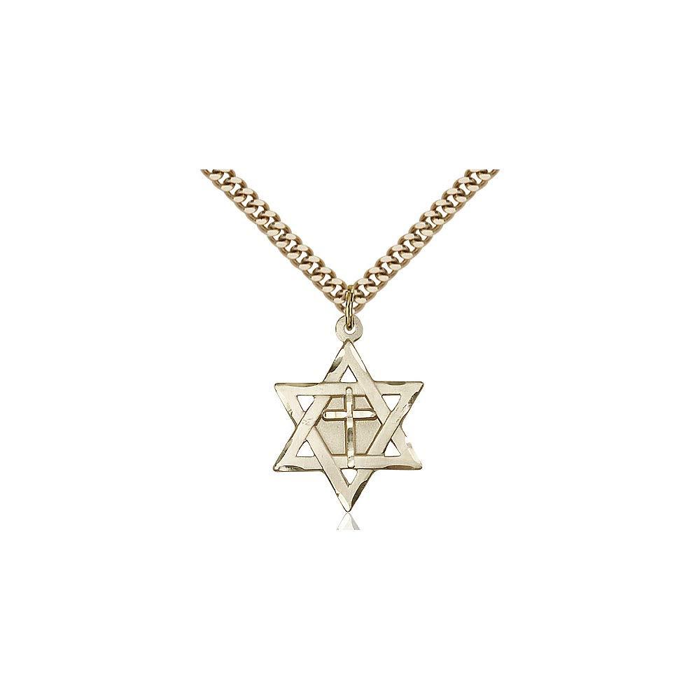 DiamondJewelryNY 14kt Gold Filled Star of David W//Cross Pendant