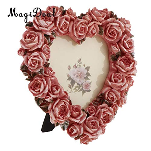 Glass figurines Picture Frame - Romantic Resin Heart Shape Rose Flower Photo Picture Frame Pink 3.5 inch