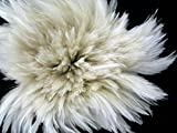 1 Yard - Natural White Strung Rooster Neck Hackle Wholesale feathers (bulk)