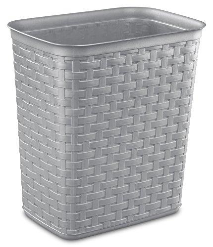 STERILITE 10346A06 3.4 Gallon/13 Liter Weave Wastebasket, Cement, 6-Pack