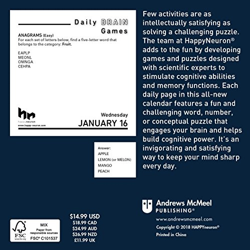 Daily Brain Games 2019 Day-to-Day Calendar - Buy Online