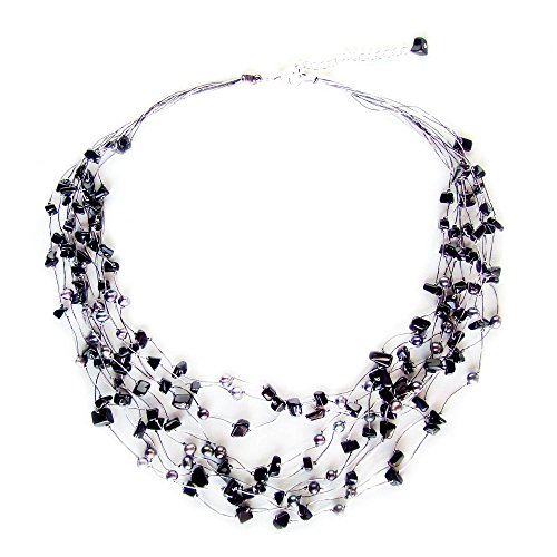 NOVICA Dyed Cultured Freshwater Pearl Sterling Silver Handmade Strand Necklace, Midnight Shower