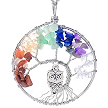 Luvalti Tree of Life - Gemstone Chakra Jewelry Colorful Owl Silver Chain Necklace - Mothers Day Gifts