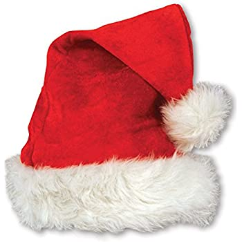7ce47393 Beistle 20731 Velvet Santa Hat with Plush Trim, One Size Fits Most,  (Red/White)