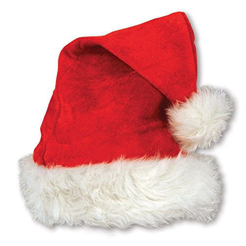 Beistle 20731 Velvet Santa Hat with Plush Trim, One Size Fits Most, (Red/White)