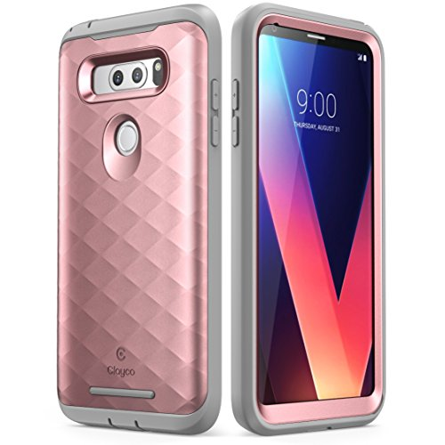Clayco LG V30 Case, [Hera Series] Full-Body Rugged Case with Built-in Screen Protector for LG V30, LG V30s,LG V30 Plus,LG V35,LG V35 ThinQ 2017 Release (Rosegold)