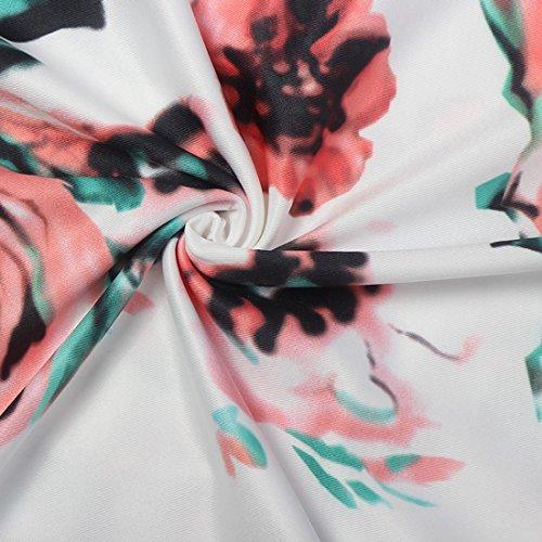 QIYUN.Z El Vestido Maxi Largo Impreso Floral De La Longitud Bohemia De Las Mujeres De La Manga Larga De Las Mujeres Blanco