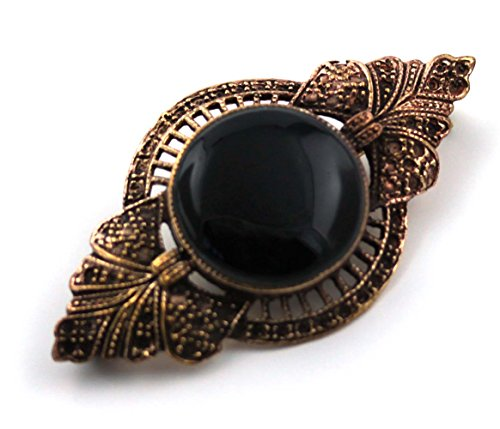 Pin Brooch Free Ship (Bronze Semi Precious Stone Pins and Brooches Norse Irish Celtic Knot Vintage Thailand Jewelry (Black Onyx V.2))