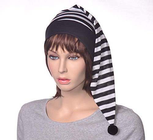 Black And White Striped Stocking Night Cap Unisex Lightweight