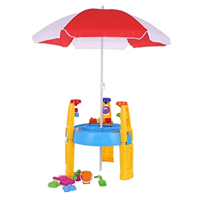 Barcley Kids Sand and Water Table with Dual Sided Play, Indoor Outdoor Toys - Activity Sensory Toy Playset Promotes Learning – Removable Lids for Sandbox & Splash Pool with Beach Umbrella (Multicolor): Home Audio & Theater