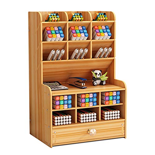 Marbrasse Wooden Pencil Holder, Pen Organizer for Desk with 15 Compartments + Drawer, Desktop Stationary Organizer Caddy, Easy Assembly