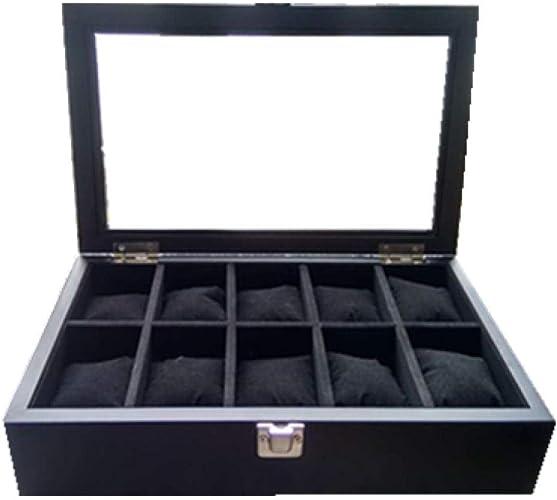 FIONAT Caja para Relojes Cajas para Joyas Hombre Mujer Regalo Viaje Madera Cerradura Hebilla Techo Solar Hogar Negro Caja De Almacenamiento 30 * 20 * 7.5Cm: Amazon.es: Joyería