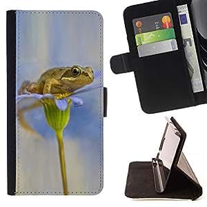 For Sony Xperia M2 Case , Flor blanca nieve Anemone- la tarjeta de Crédito Slots PU Funda de cuero Monedero caso cubierta de piel