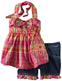 Young Hearts Girls 2-6X 2 Piece Printed Woven Top And Short, Pink, 2T image