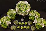 Lime Green and White Beaded Lily Bridal Wedding Flower 18 piece set with Peonies and Roses~ Unique French beaded flowers. Includes Bouquets Corsages and Boutonnieres
