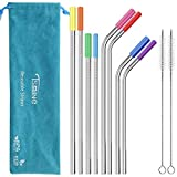 """Reusable Stainless Steel Straws Set - Tsmine FDA-Approved Metal Drinking Straws 10.5""""& 8.5"""" Bent Straight Smoothie Straws for 20 & 30oz Tumbler,Set of 8 with 8 Silicone Tips & 2 Cleaning Brush & Pouch"""