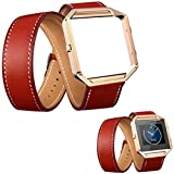 Hatop Long Leather Double Ring Watch Band Strap+Metal Frame For Fitbit Blaze Watch (Red)