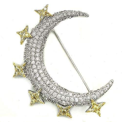 DREAMLANDSALES Victorian Vintage Small Golden Stars Crescent Moon Brooches Pins Planet Jewelry