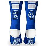 Custom Team Number Crew Socks | Athletic Socks by ChalkTalkSPORTS | Blue | 24