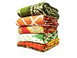 Stylo Culture Indian Kantha Blankets Wholesale Twin Printed Kantha Bengali Gudri Quilt Kantha Bengali Printed Quilted Throw Vintage Ralli Gudri lot of 5 Pc