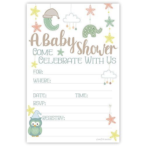 Baby Mobile Baby Shower Invitations (20 Count) With Envelopes