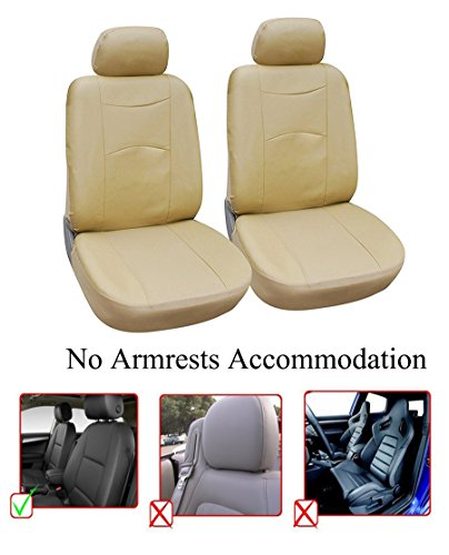 OPT. Brand. Tan Color Vinyl Leather 2 Front Car Seat Covers Fit BMW 550i 640i 650i 750i 750Li X3 X5 X6 320i 328i 428i 530i 535i 540i 435i 528i ()