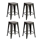 EDECO 24-inch Tolix Style Bar Stools Backless Metal Chair Set of 4 Bronze Color for Living Room Indoor Outdoor Counter Stools