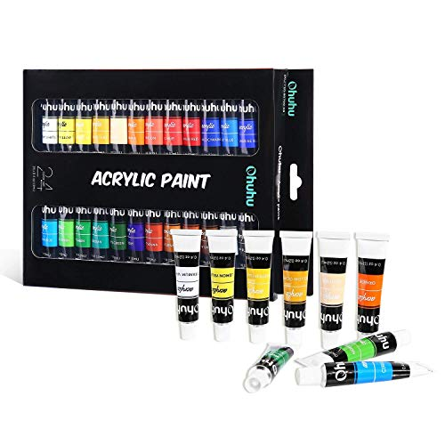Acrylic Paint Set, 24 Colors of Ohuhu Artists Acrylic Painting Kit Acrylic Paints for Stone, Canvas, Wood, Clay, Fabric, Nail Art, Ceramic, Crafts, 12ml x 24 Tubes