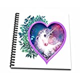 3dRose db_11622_1 Sweet Unicorn Inside of a Heart, Floral, Leaves, Myth, Legend Drawing Book, 8 by 8-Inch