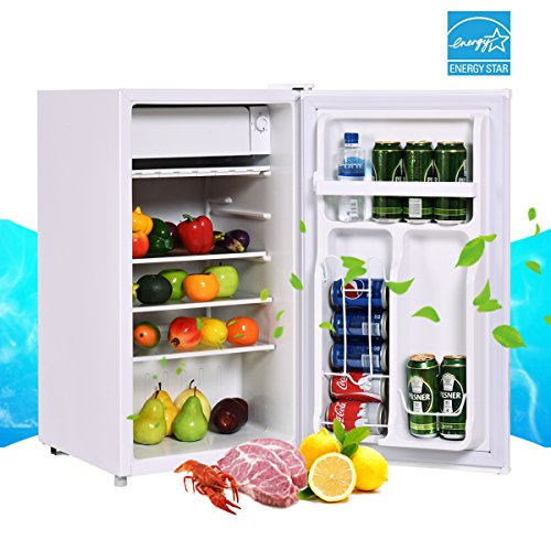 Costway 3.2 Cu. Ft. Refrigerator Single Door Compact Mini Contemporary Classic Fridge Freezer Cooler for Apartment Home Kitchen Hotel Office Dorm Wet Bars with Glass Shelves (White)