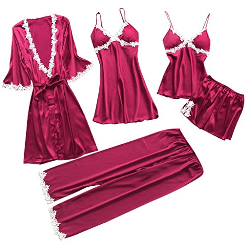 (ZoePets Women's Silky Pajamas Satin 5 Piece Robe Sets Lace Up Nightgown Camisole Shorts Sleewear Set Long Pants Sets(Hot Pink,S )